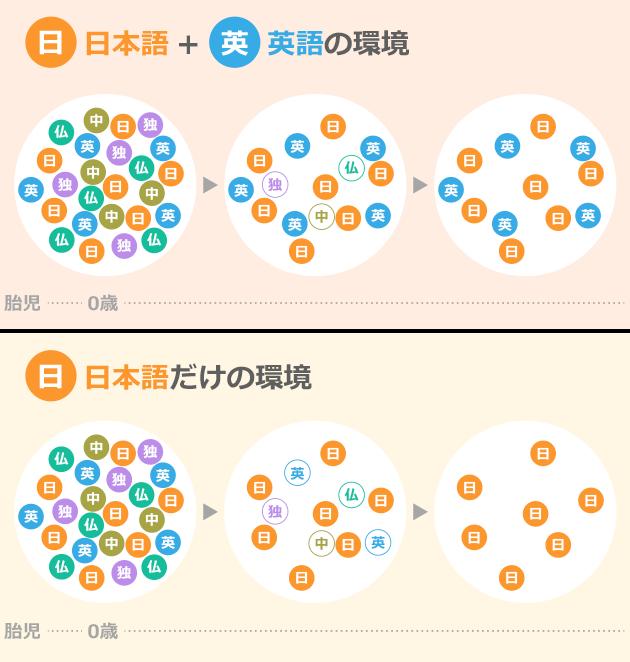 日本語+英語の環境と日本語だけの環境
